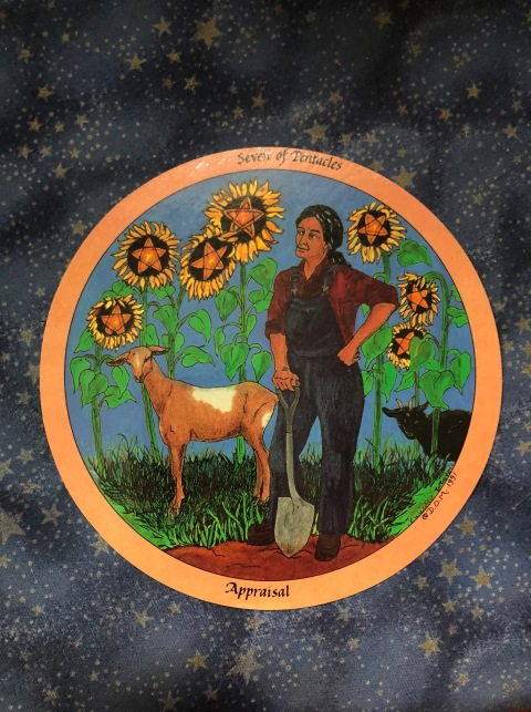Daughters of the Moon tarot Appraisal card - 7 of pentacles