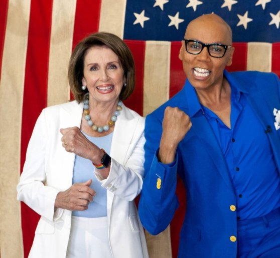 Nancy Pelosi and RuPaul