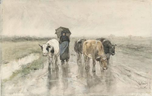 a-herdess-with-cows-on-a-country-road-in-the-rain-anton-mauve