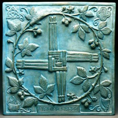 brigid's cross metal plaque