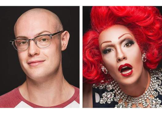 before and after picture of a drag queen