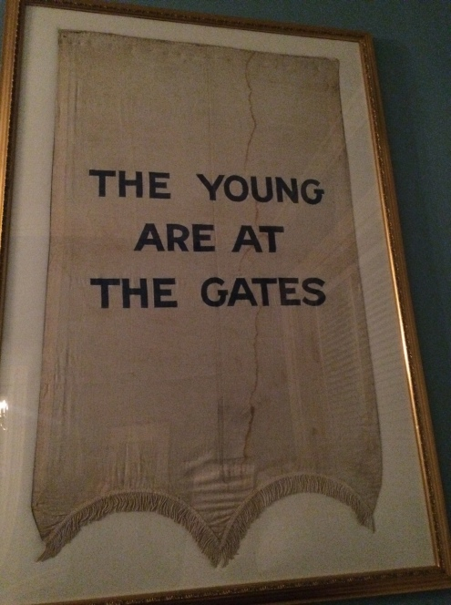 Suffragist banner The Young Are At The Gates