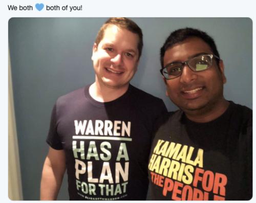 activists wearing Elizabeth Warren and Kamala Harris tshirts