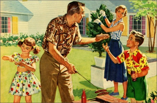 stereotypical 1950s white American family in their yard