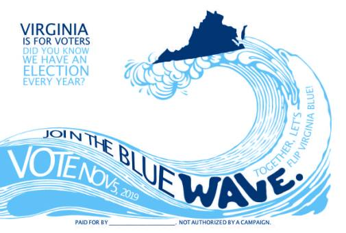 Virginia is for voters blue wave postcard from Postcards For Virginia